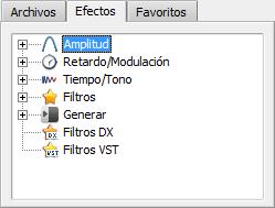 Panel de archivos y efectos. Lista de efectos