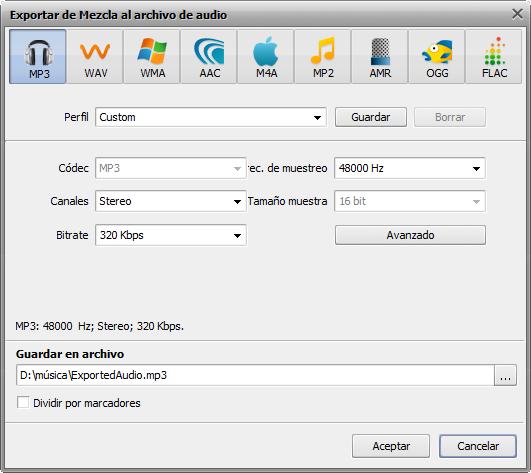 Ventana Exportar de mezcla a un archivo de audio