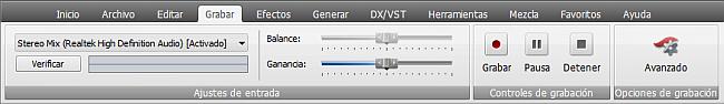 AVS Audio Editor - Pestaña Grabar