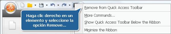 Cómo quitar elementos de la barra de acceso rápido