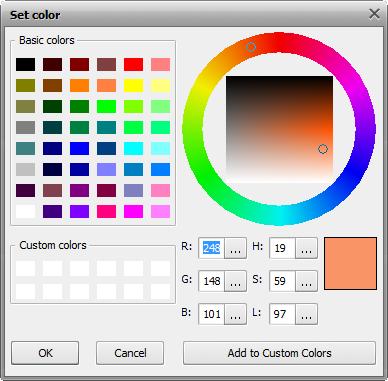 Configuración de parámetros. Ventana Set Color