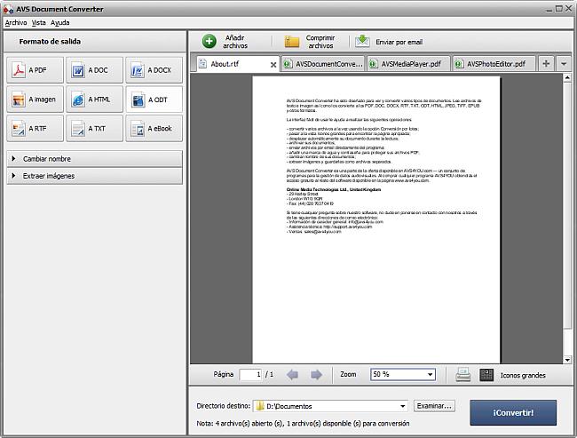 Conversión a formato ODT