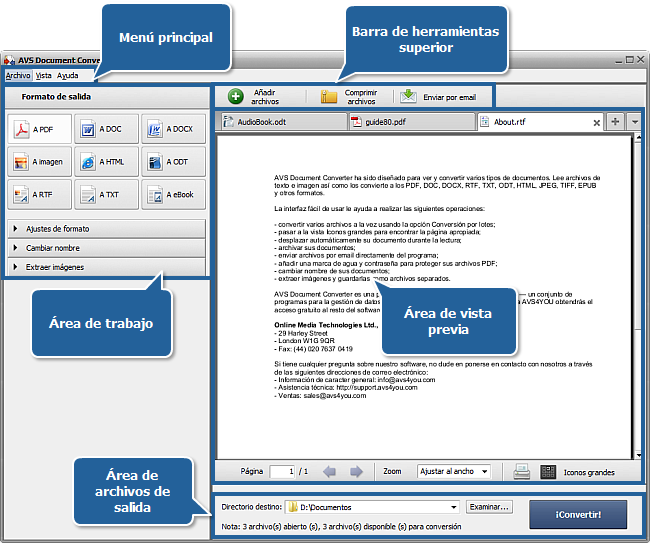 Ventana principal del AVS Document Converter