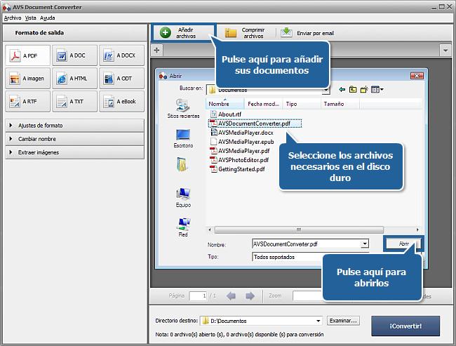Funciones de AVS Document Converter: Paso 1