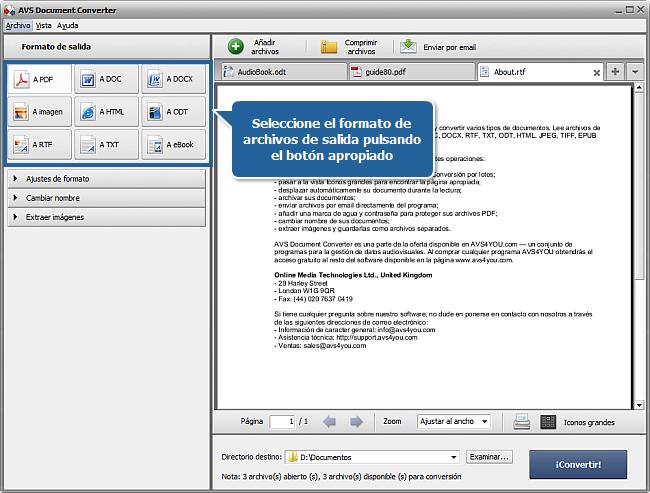 Funciones de AVS Document Converter: Paso 2