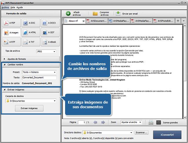 Funciones de AVS Document Converter: Paso 3