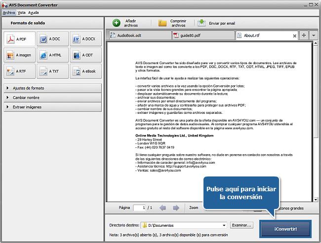 Funciones de AVS Document Converter: Paso 4