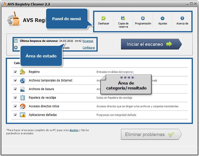 Ventana principal de AVS Registry Cleaner