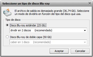 Pantalla Seleccionar tipo de disco Blu-ray
