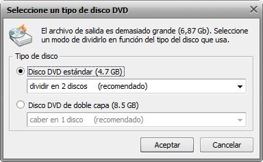 Pantalla Seleccionar tipo de disco DVD