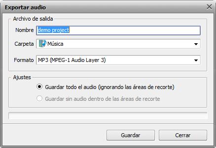 Ventana Exportar audio