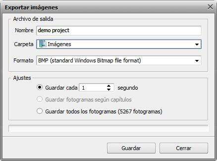 Ventana Exportar imágenes