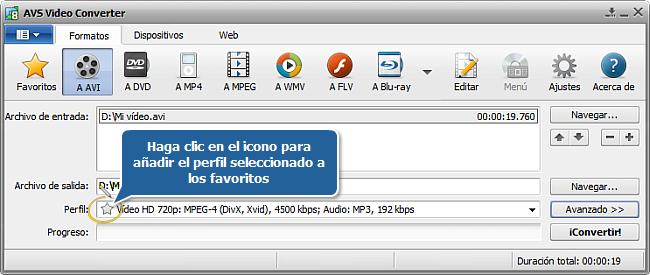 Pantalla principal de AVS Video Converter