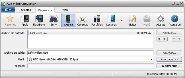 La pantalla principal de AVS Video Converter - para Android