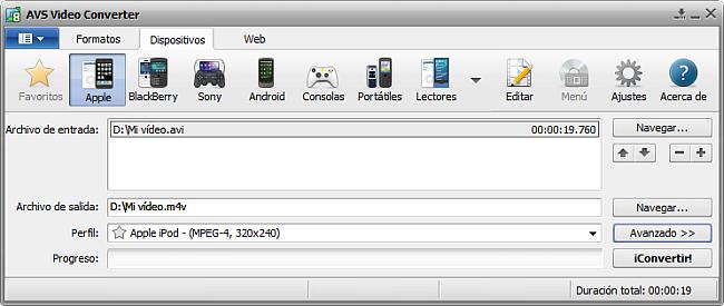 La pantalla principal de AVS Video Converter - para Apple
