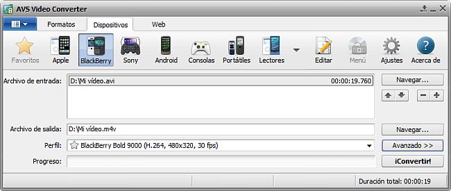 La pantalla principal de AVS Video Converter - para BlackBerry