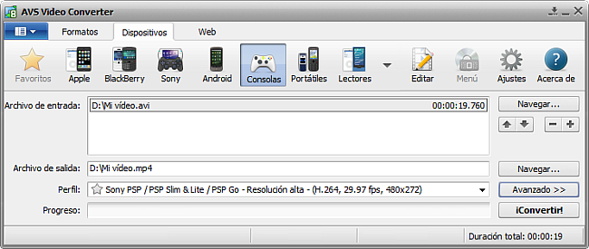 La pantalla principal de AVS Video Converter - para consolas