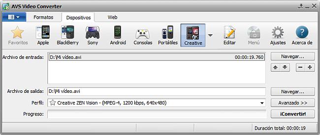 La pantalla principal de AVS Video Converter - para Creative