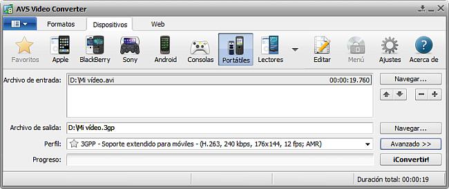 La pantalla principal de AVS Video Converter - para Portátiles
