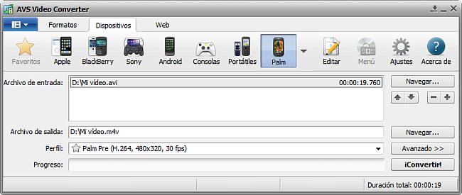 La pantalla principal de AVS Video Converter - para Palm