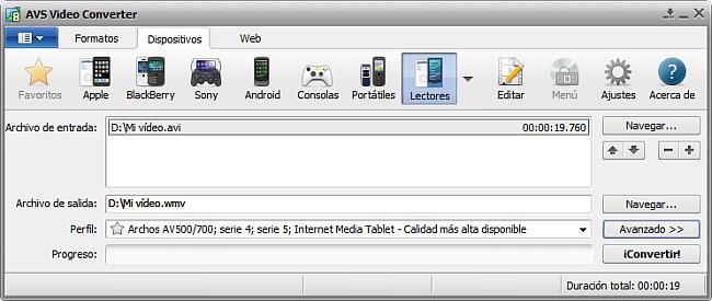 La pantalla principal de AVS Video Converter - para Lectores