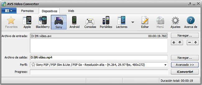 La pantalla principal de AVS Video Converter - para Sony