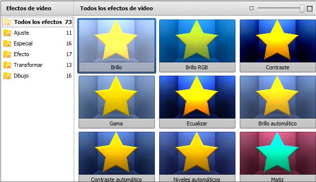Área de elementos aplicados - Efectos vídeo/audio