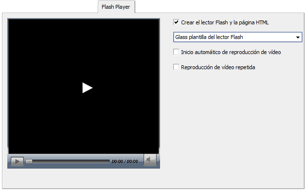 Pestaña Flash Player