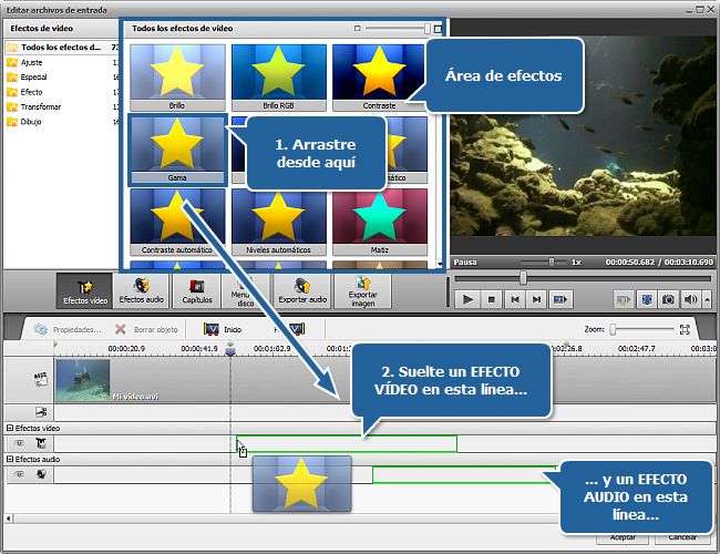 Aplicación de efectos vídeo/audio