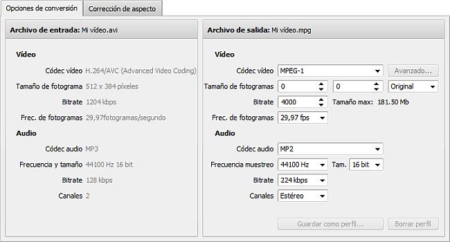 Pestaña Opciones de conversión - MPEG