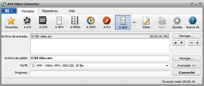 La pantalla principal de AVS Video Converter - a AMV