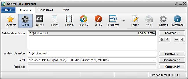 La pantalla principal de AVS Video Converter - a AVI