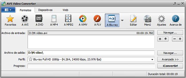 La pantalla principal de AVS Video Converter - a Blu-ray