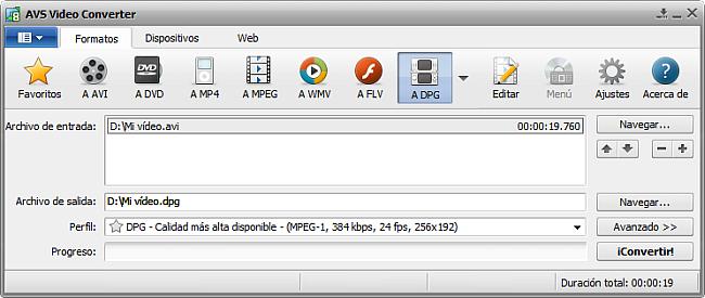 La pantalla principal de AVS Video Converter - a DPG