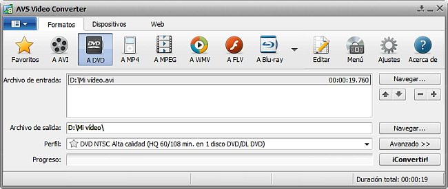 La pantalla principal de AVS Video Converter - a DVD