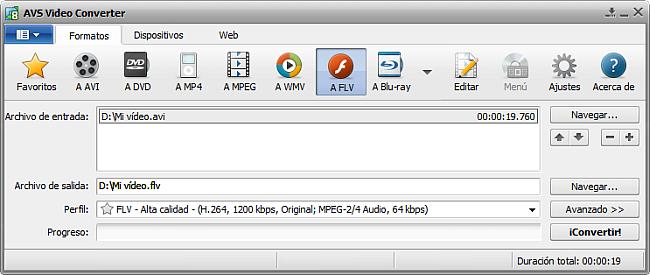 La pantalla principal de AVS Video Converter - a FLV
