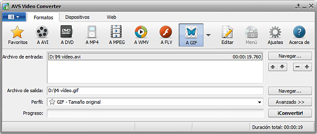 La pantalla principal de AVS Video Converter - a GIF