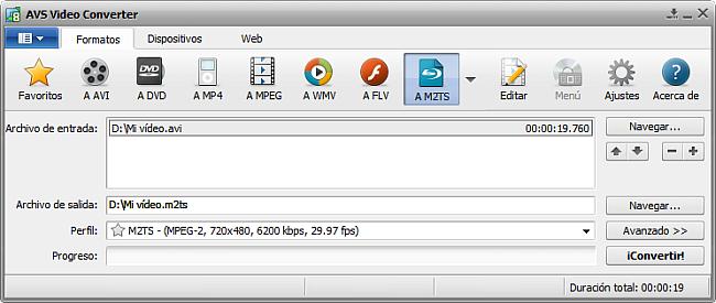 La pantalla principal de AVS Video Converter - a m2TS