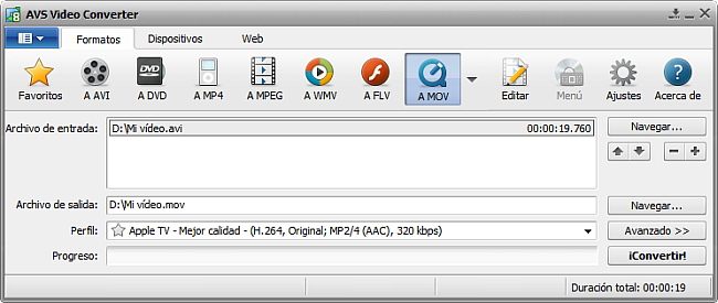 La pantalla principal de AVS Video Converter - a MOV