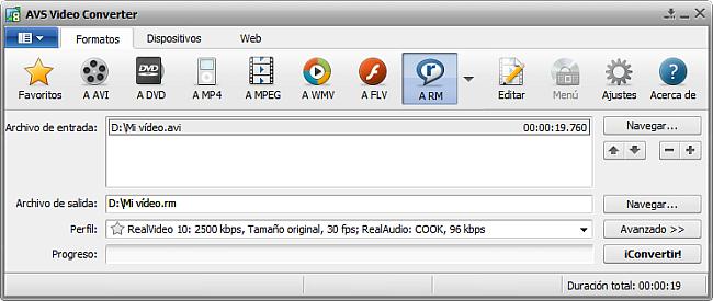 La pantalla principal de AVS Video Converter - a RM