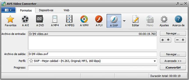 La pantalla principal de AVS Video Converter - a SWF
