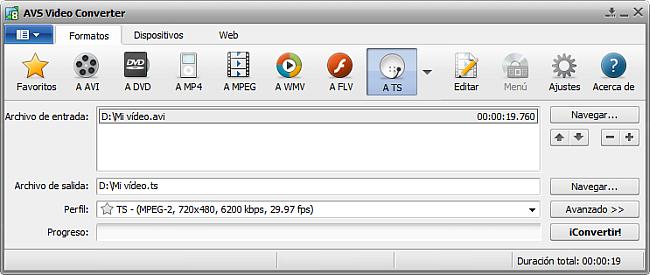 La pantalla principal de AVS Video Converter - a TS