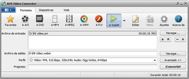 La pantalla principal de AVS Video Converter - a WebM