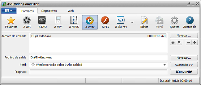 La pantalla principal de AVS Video Converter - a WMV