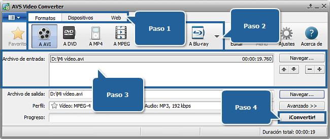La pantalla principal de AVS Video Converter