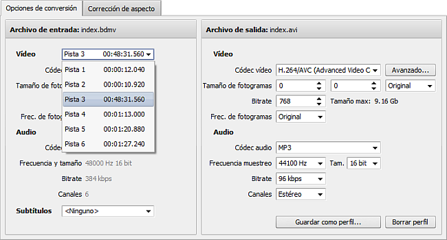 Seleccionando pista de vídeo