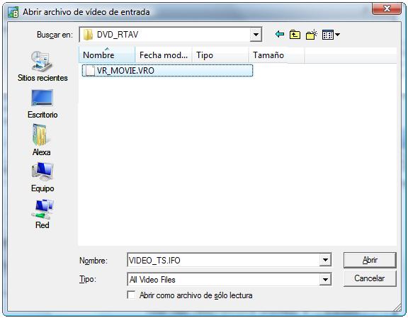 Selección de archivos de vídeo VOB
