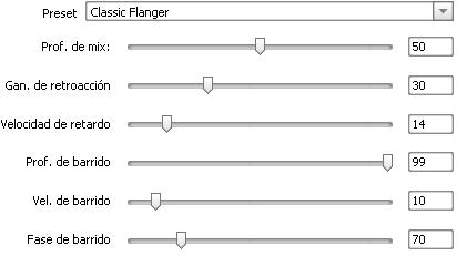 Propiedades del efecto Flanger