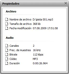 Propiedades de audio