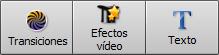 Botones Transiciones/Efectos Vídeo/Texto